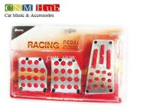 Pedal Cover Silver & Red Rubber - MT-03