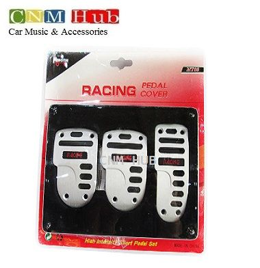 Pedal Cover Racing Silver & Black - MT-03